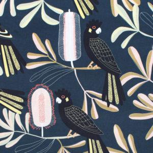 Nerida Hansen Fabrics - Cockatoo Banksia Dark by Jocelyn Proust Designs