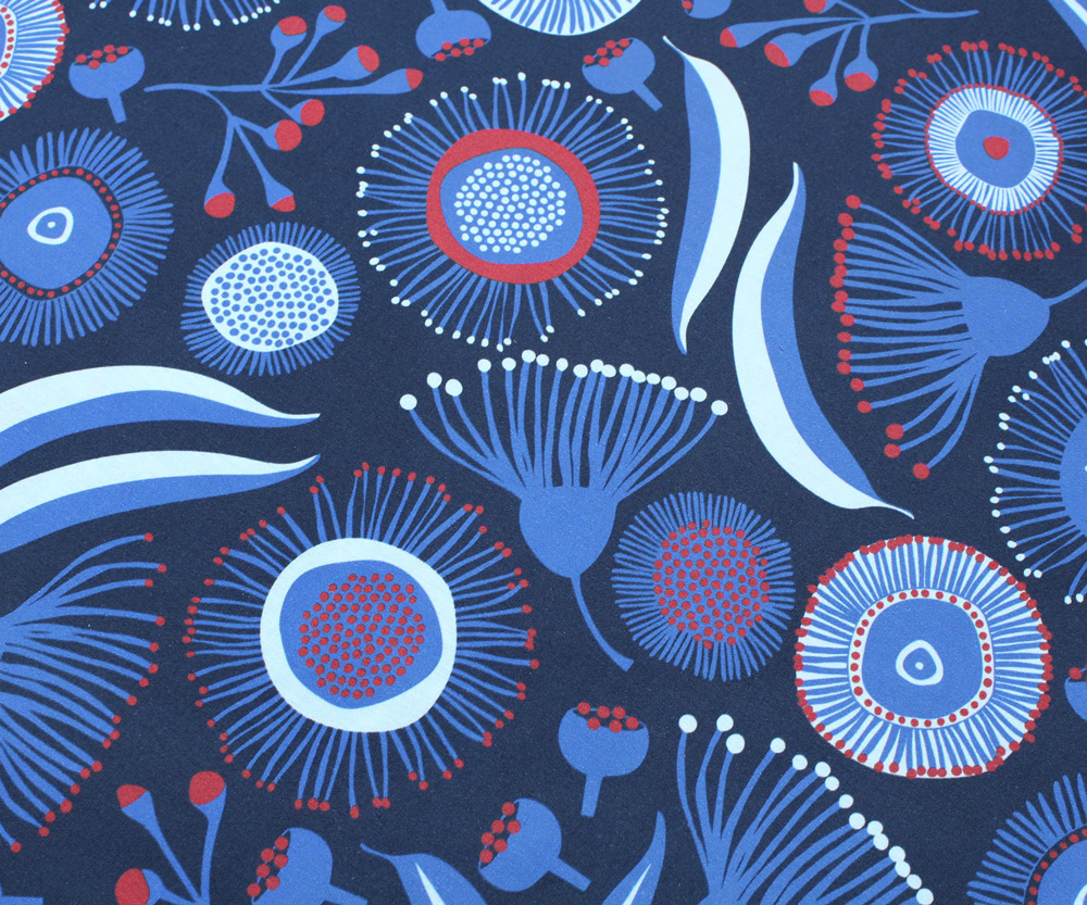 Nerida Hansen Fabrics - Gum Blossom Blue by Jocelyn Proust Designs