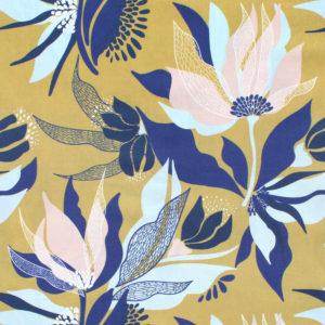 Nerida Hansen Fabrics - Harlow Cornflower Mustard by Rachelle Holowko