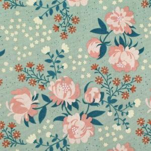 Birch Fabrics Best of Teagan White Peonies Mint
