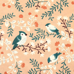 Birch Fabrics Best of Teagan White Birds and Branches Coral
