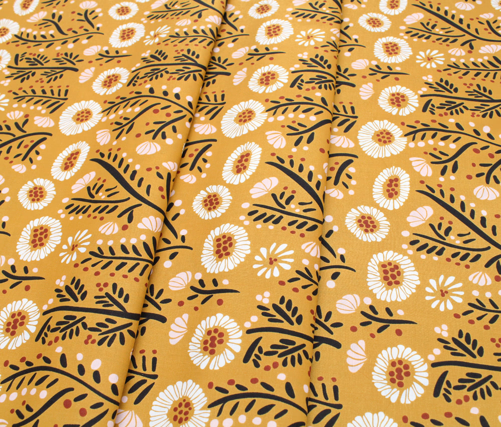 Cloud9 Fabrics Fanciful 208701 Dancing Petals Gold