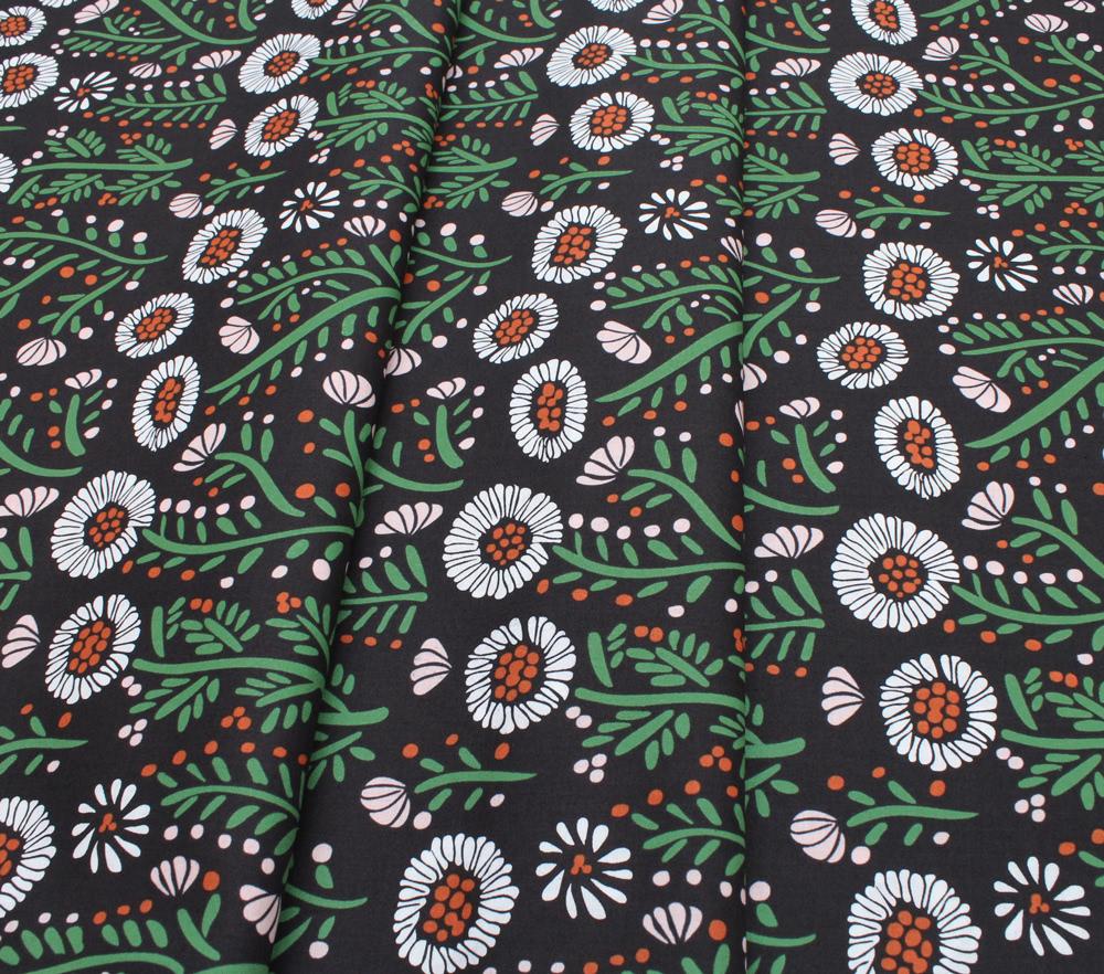 Cloud9 Fabrics Fanciful 208702 Dancing Petals Black