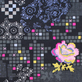Art Gallery Fabrics Grid Rose Circuit Jet