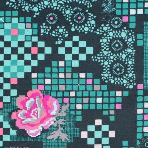 Art Gallery Fabrics Grid Rose Circuit Teal