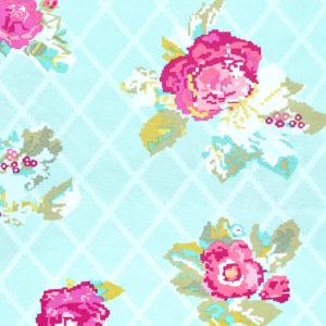 Art Gallery Fabrics Grid Petalbit Trellis Aqua