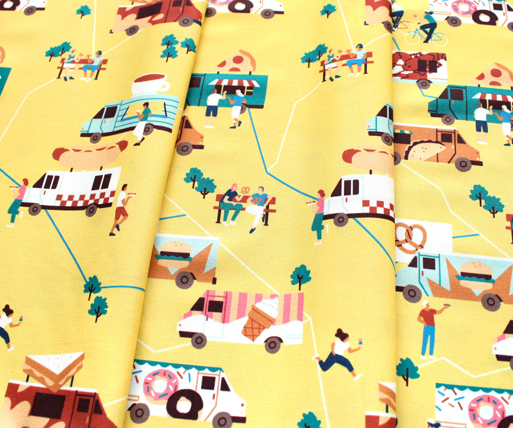 Paintbrush Studio Fabrics Food Trucks 120-209362 Food Trucks Yellow