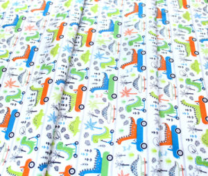 Camelot Fabrics Roarsome 21180403-01 Dinosaurs on the Go in White
