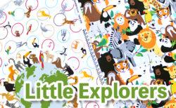 動物がいっぱいの生地 Studio E Fabrics Little Explorers