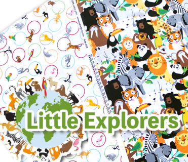動物がいっぱいの生地 Studio E Fabrics Little Explorers