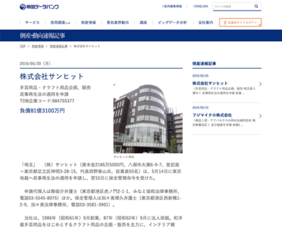 株式会社サンヒット民事再生法