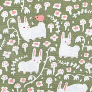 Birch Fabrics Enchanted Kingdom Bunny Meadow Moss