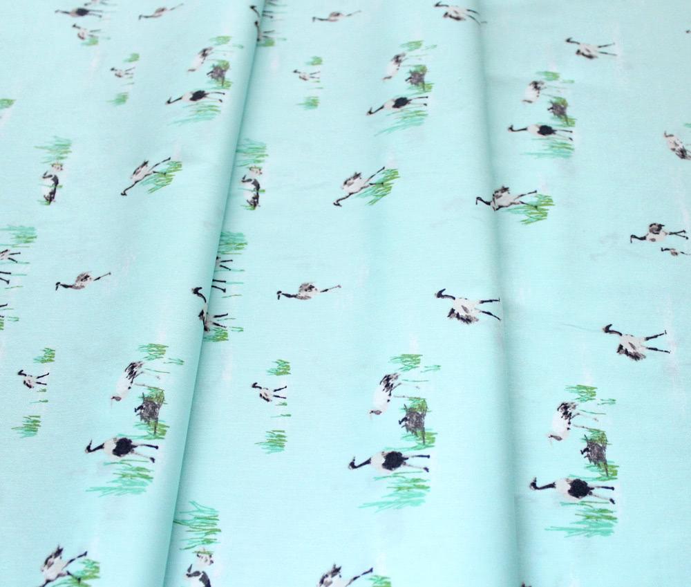 Art Gallery Fabrics Floralish Wandering Cranes