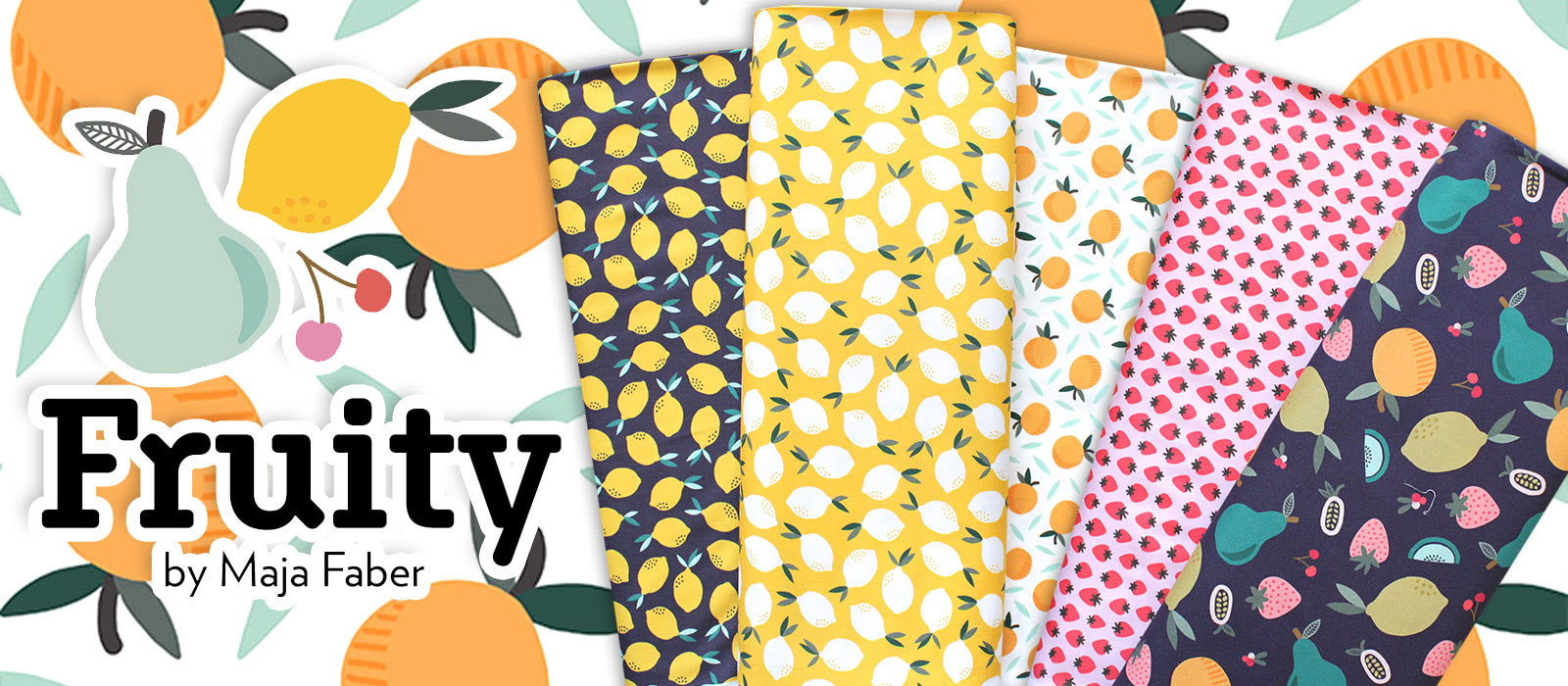 """フルーツ柄USAコットン Paintbrush Studio Fabrics """"Fruity"""""""