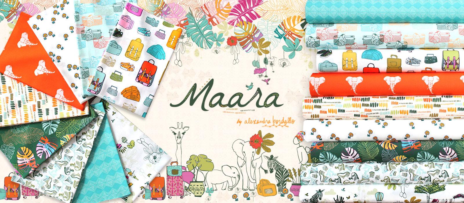 旅がテーマのポップな生地 Art Gallery Fabrics Maara Collection