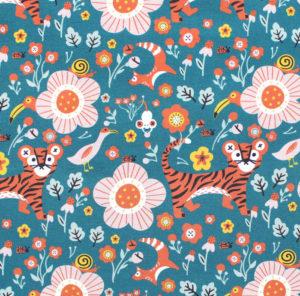 Paintbrush Studio Fabrics Tiger Garden 120-21102 Main Teal