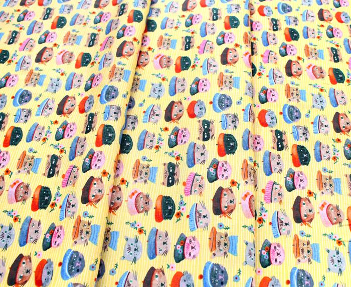 Windham Fabrics Ooh La La Yellow Cool Cats