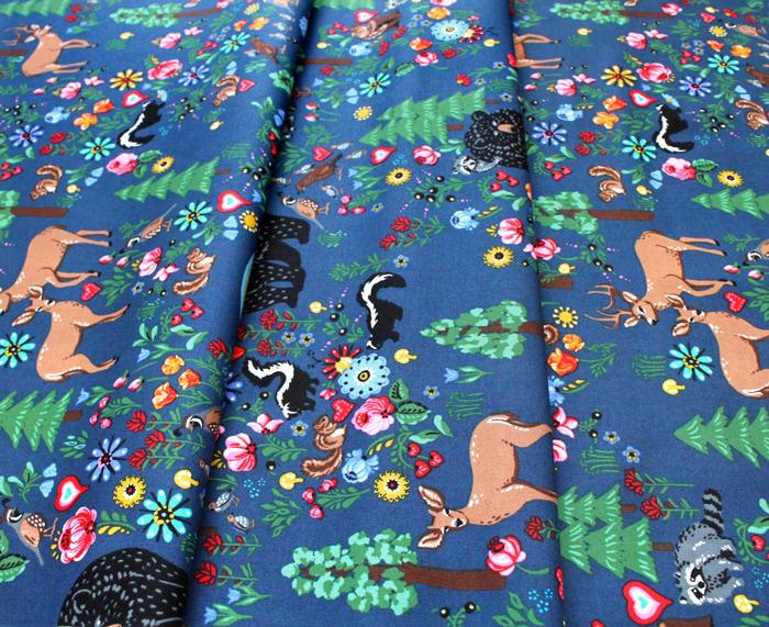 Robert Kaufman Hidden Canyon WEL-19805-82 Forest Animals Blue