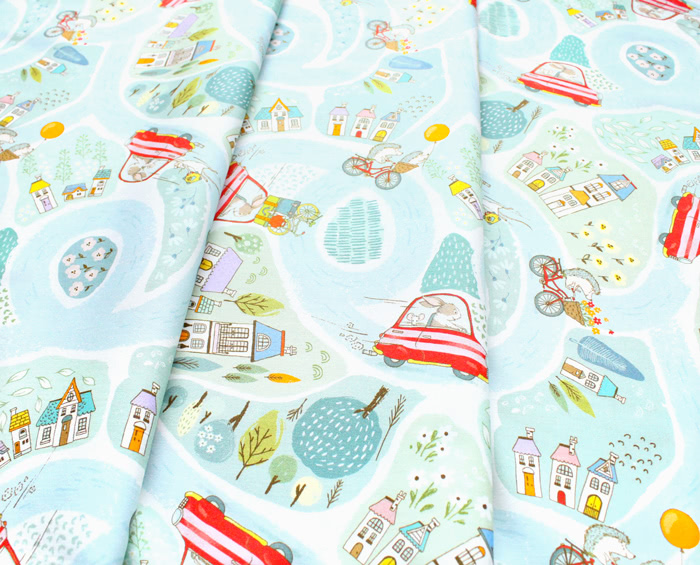 Michael Miller Fabrics City Hoppers DC9174-BLUE-D City Adventures