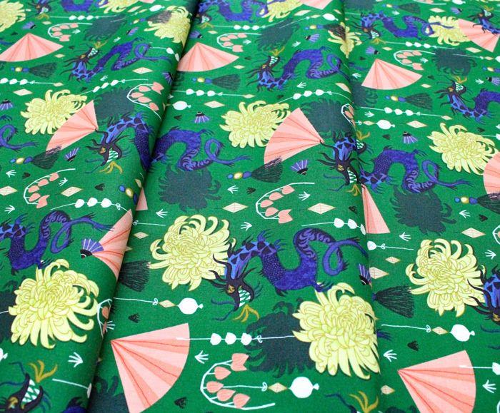 Cloud9 Fabrics Dragons & Lanterns 226980 Fierce Green