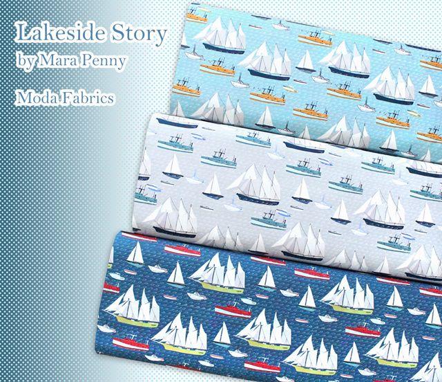 船がいっぱいの生地 Moda Fabrics Lakeside Story