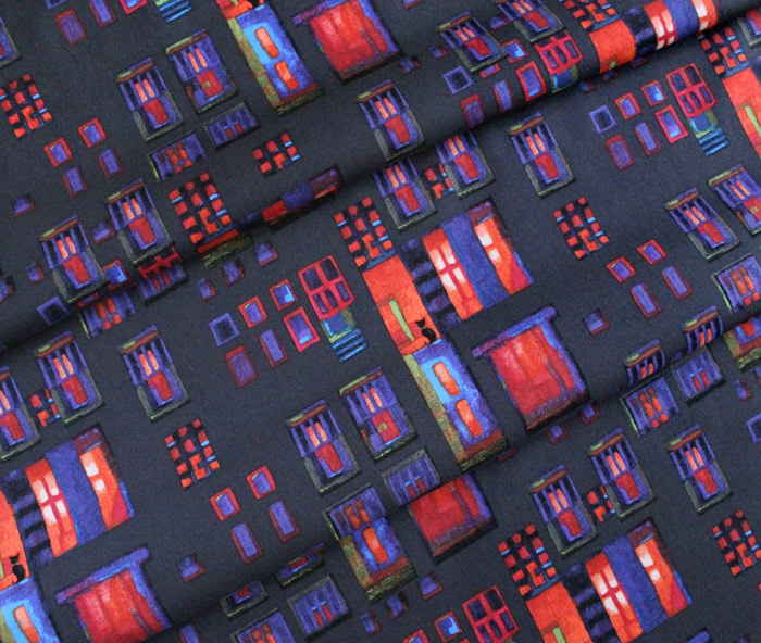 Clothworks City Lights Y3096-40 Cats in Windows Coral