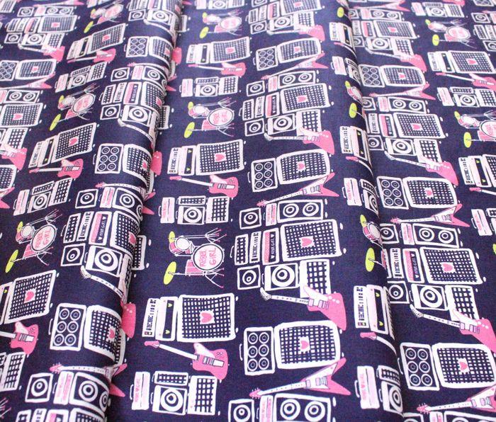 Paintbrush Studio Fabrics Rebel Girl 120-21852 Sound Speakers & Guitars