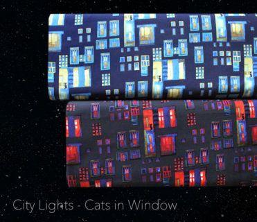Clothworks City Lights Cats in Windows