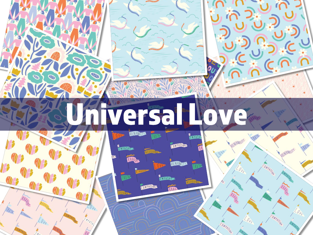 Cloud9 Fabrics Universal Love Collection by Elizabeth Olwen