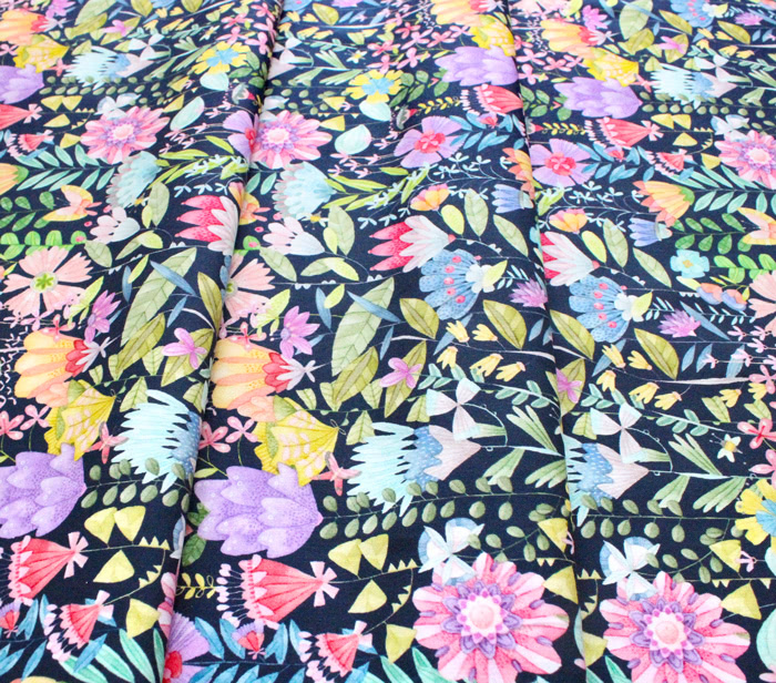 Michael Miller Fabrics Be Kind to Everything That Grows DDC9769-NAVY Fanciful Flowers Navy