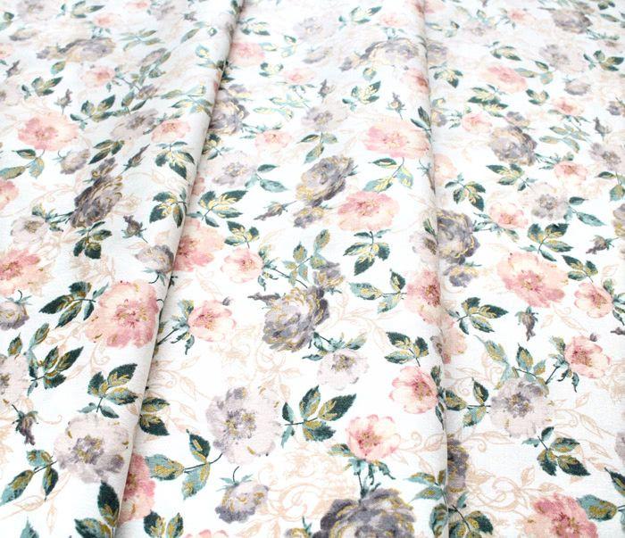 RJR Fabrics Summer Rose PS201-PE1M Marietta Peachy Metallic