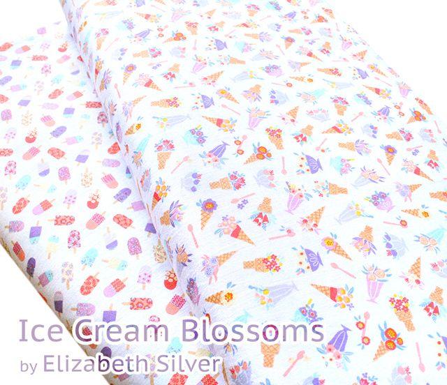 花束のようなアイスクリーム柄 Camelot Fabrics – Ice Cream Blossoms