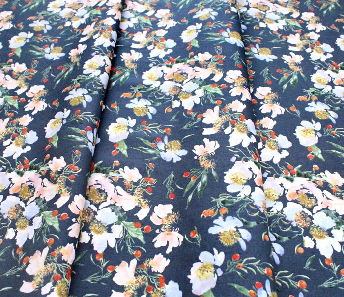 Windham Fabrics Wildflower 52253-9 Clair de Lune Midnight