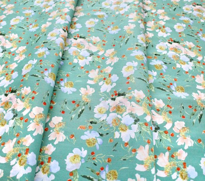 Windham Fabrics Wildflower 52253-8 Clair de Lune Spruce