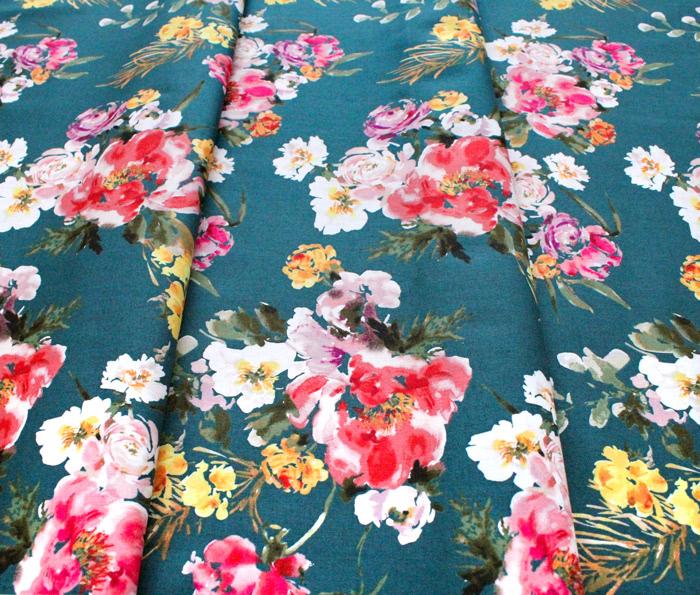 Windham Fabrics Wildflower 52252-2 Coral Charm Teal