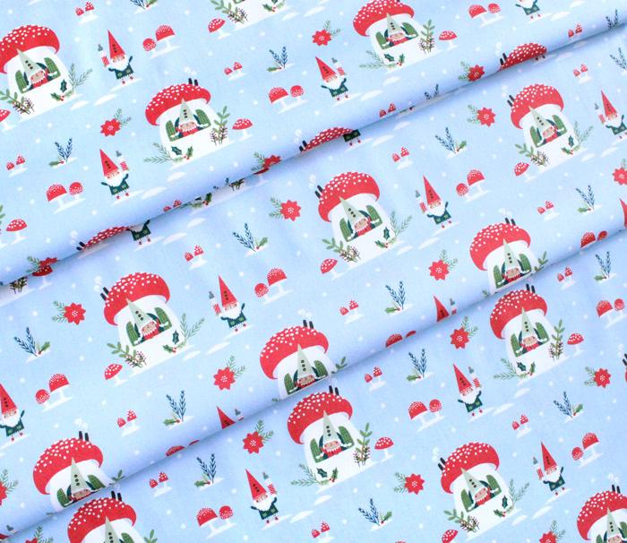 Paintbrush Studio Fabrics Gnome Noel 120-21783 Gnome House Blue