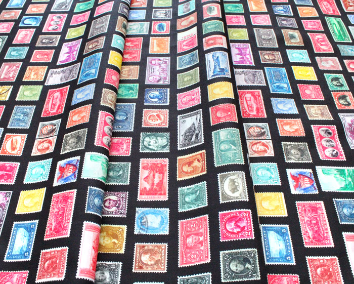 Robert Kaufman Fabrics Library of Rarities SRKD-20958-2 Stamps Black