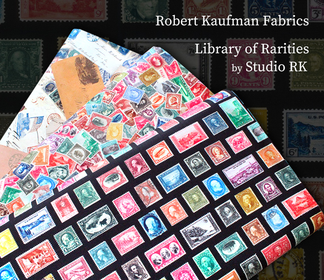 Robert Kaufman Fabrics アンティークな切手・手紙柄 Library of Rarities
